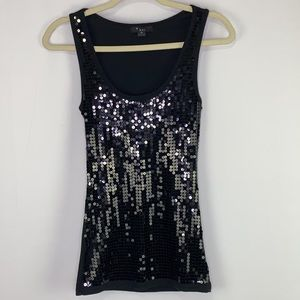 Ribbed Black Sequins Fitted Tank Top